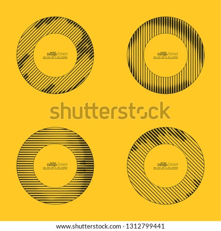 Set frames with slanted black and yellow strips, vector illustration. stock photo © kup1984
