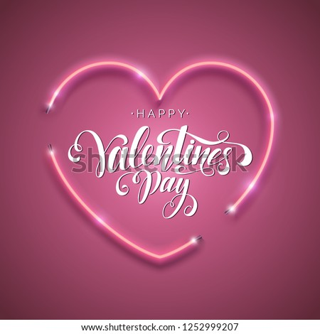 happy valentines day background with shiny heart and typography letter vector holiday wedding and lo stock photo © articular