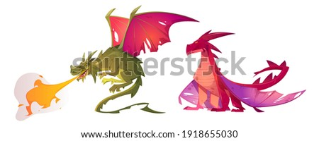 green dragon isolated mythical monster with wings terrible hug stock photo © popaukropa
