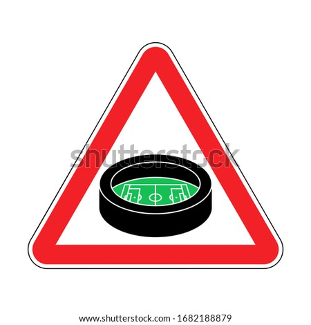 attention stadium red prohibitory triangular road sign caution stock photo © maryvalery