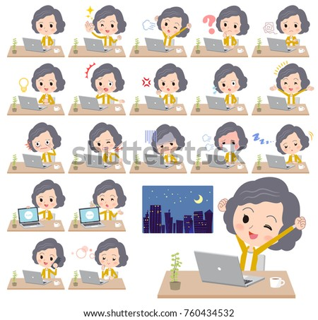 Jaune veste milieu travaux ordinateur femme Photo stock © toyotoyo