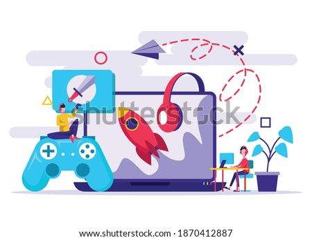 boy and girl playing video games together vector isolated illustration stock photo © pikepicture