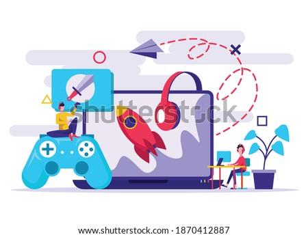 Nino nina jugando videojuegos junto vector Foto stock © pikepicture