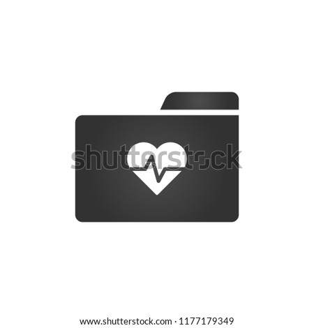 Folder Icon with al mheart and beat in trendy flat style isolated on white background, for your web  Stock photo © kyryloff