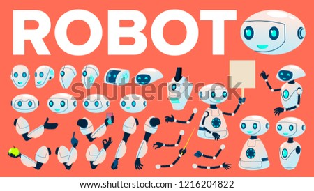 Robot Vector. Animation Creation Set. Futuristic Mechanism Technology Robot Helper. Animated Artific Stock photo © pikepicture