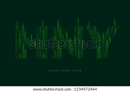 n letter with pine tree forest illustration for happy new year stock photo © sgursozlu