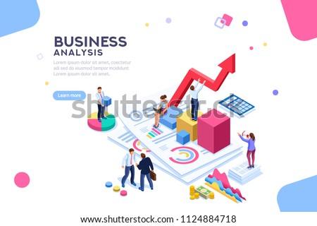 Isometrische vector business statistiek analytics controleren Stockfoto © TarikVision