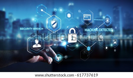 cyber security technology concept shield with lock and keyhole personal data vector illustration stock photo © kyryloff