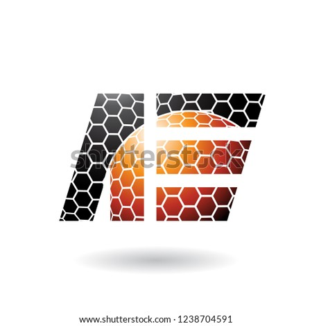 Black and Orange Letter E with Honeycomb Pattern Vector Illustra Stock photo © cidepix