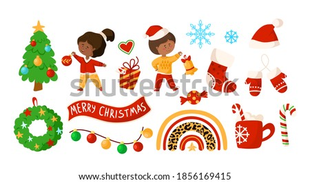 Christmas jongen ingesteld vector zwarte afro Stockfoto © pikepicture