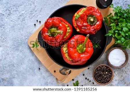 gevuld · bel · paprika · voedsel · kaas · boord - stockfoto © alex9500