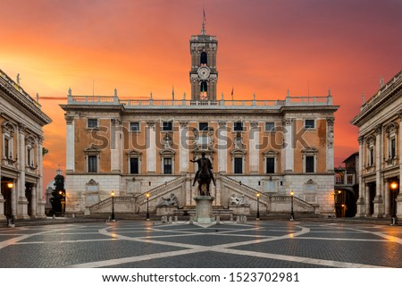 statue of castor with a horse at capitoline hill in rome italy stock photo © boggy