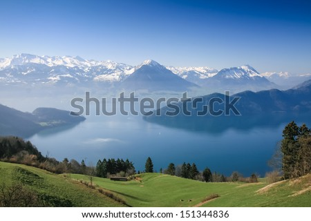 Lake Luzern and Alps mountain peaks aerial view from Mount Pilat Stock photo © xbrchx