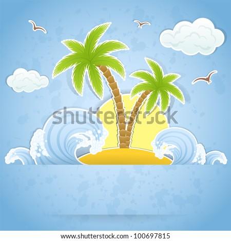Verano playa mar cielo gaviotas amanecer Foto stock © MarySan