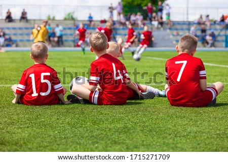 Children in Sportswear Standing in Team. Kids in Red Jersey Shir stock photo © matimix