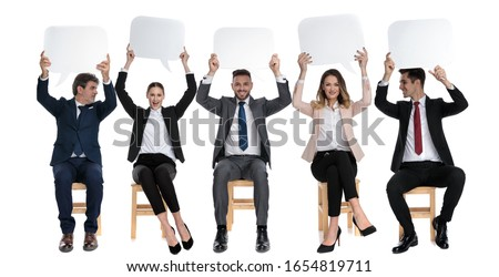 Heureux jeunes assis affaires bulle Photo stock © feedough