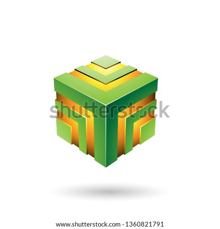 Green Bold Striped Cube Vector Illustration Stock photo © cidepix