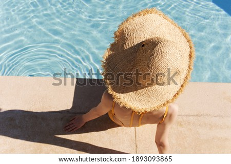 Woman sitting on beach. Concept for vacation, holiday and travel. Summer time. Flat vector illustrat Stock photo © makyzz