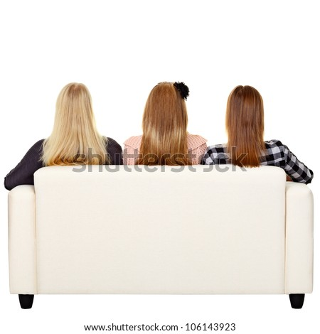 Horizontal image rear view young blond woman sitting in lotus po Stock photo © amok