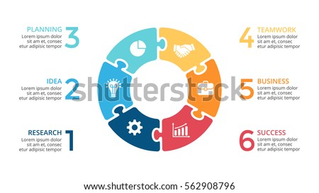 6 options Business Infographic circle, six pieces circle diagram, , step presentation, section banne Stock photo © kyryloff