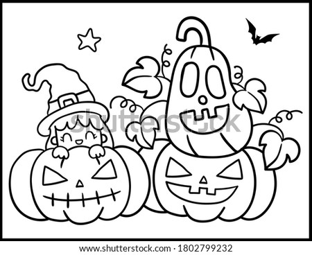 Cartoon cute doodles Happy Halloween illustration. Outline funny round picture Stock photo © balabolka