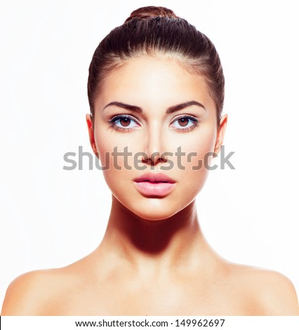 Beauty Fashion Model Woman face. Portrait with perfect skin. Red Lips and Nails. Beautiful Sexy Brun Stock photo © serdechny