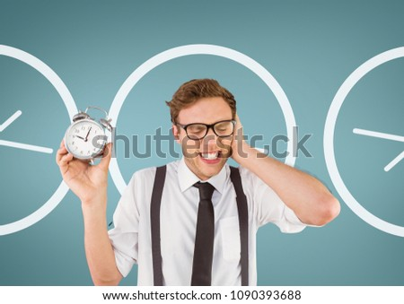nerd business man holding a clock against background with clock stock photo © wavebreak_media