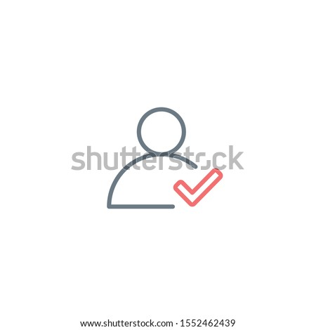 Validated or virified user linear icon. Profile outline pictogram with checkmark. Editable stroke. S Stock photo © kyryloff