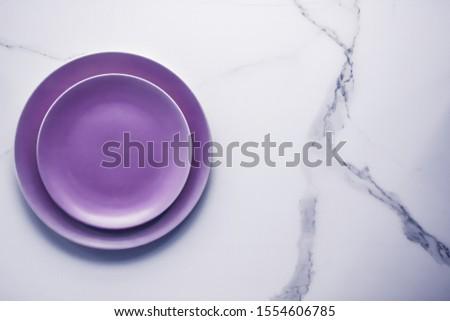 Fioletowy pusty tablicy marmuru tabeli stołowe Zdjęcia stock © Anneleven