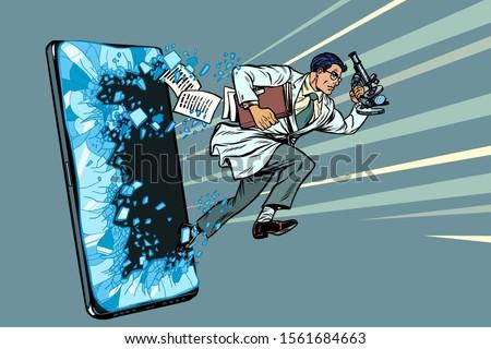 Férfi tudós mikroszkóp telefon szerkentyű okostelefon Stock fotó © studiostoks