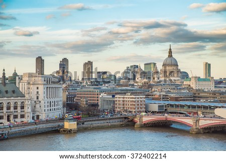 The St Pauls cathedral, Blackfriars Bridge and the City of London Stock photo © elxeneize