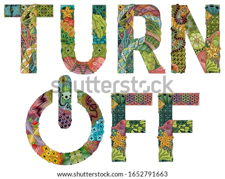 Word OFF with power button. Vector zentangle object for decoration Stock photo © Natalia_1947