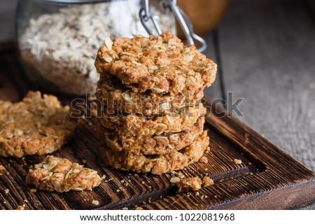 新鮮な 燕麦 クッキー 素朴な 木製のテーブル ストックフォト © marylooo