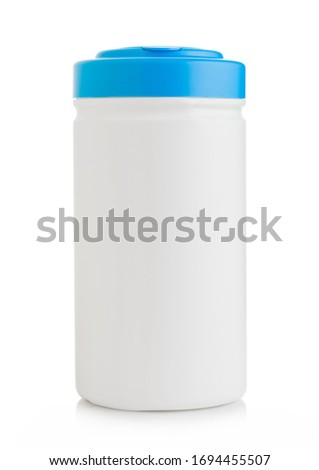 Plastic container of wipes for rapid disinfection of hand surface and equipment on white background. Stock photo © DenisMArt