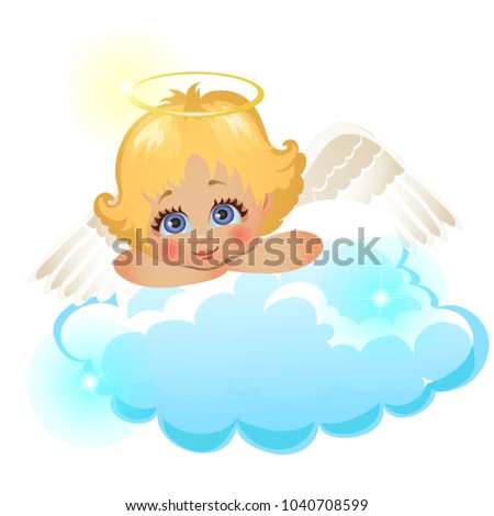 Animated cute little angel lying on a cloud isolated on white background. Vector cartoon close-up il Stock photo © Lady-Luck