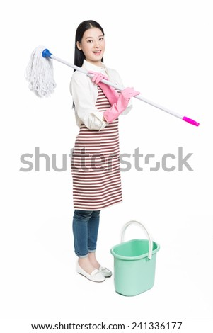 smiling asian woman with mop cleaning at home Stock photo © dolgachov