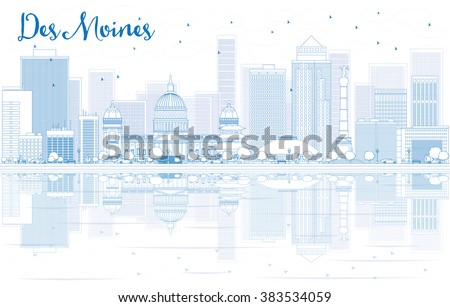 Outline Des Moines skyline with blue buildings and reflections. Stock photo © ShustrikS