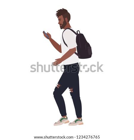 Imagem barbudo homem caminhada Foto stock © deandrobot