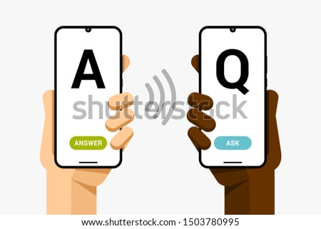 Smartphone mockup in human hand. Question and answer. Online support via chat application. EPS10 Vec Stock photo © karetniy