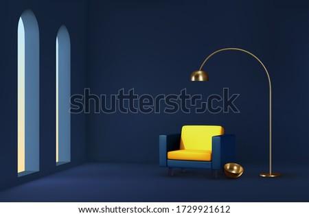 желтый стены солнечный свет окна реалистичный 3D Сток-фото © sedatseven