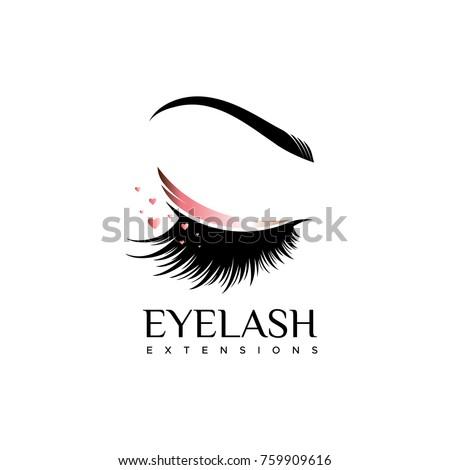 Beautiful logo with woman's eye, eyelash and eyebrow with crown Stock photo © Zsuskaa