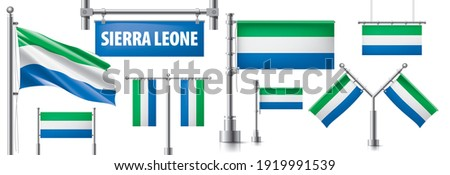 Vector set of the national flag of Sierra Leone in various creative designs Stock photo © butenkow