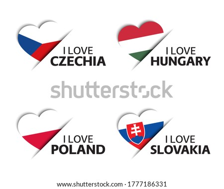 National flag of the Slovakia in the shape of a heart and the inscription I love Slovakia. Vector il Stock photo © butenkow