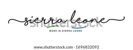 Sierra Leone flag and hand on white background. Vector illustration Stock photo © butenkow