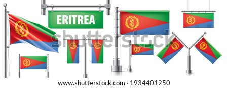 Vector set of the national flag of Eritrea in various creative designs Stock photo © butenkow