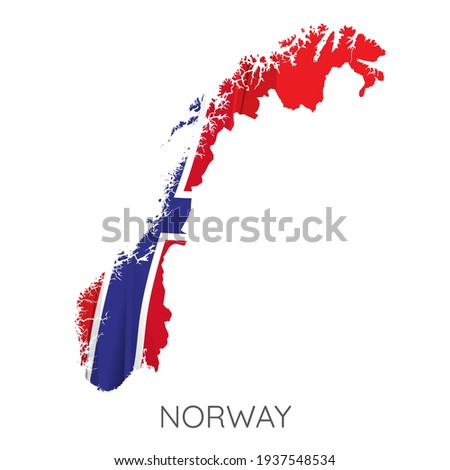 Detailed Norway silhouette with national flag on contour europe map on white Stock photo © evgeny89
