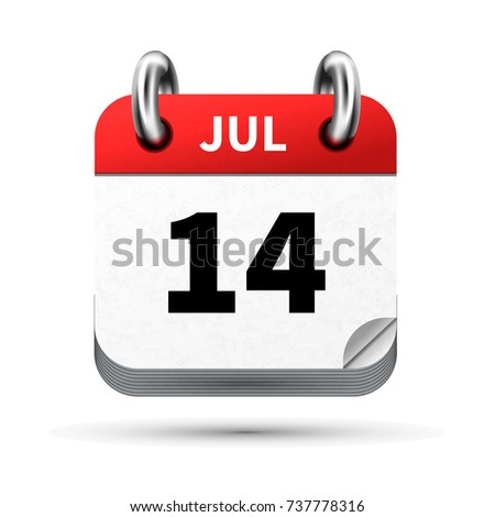 Bright realistic icon of calendar with 14 july date isolated on white Stock photo © evgeny89