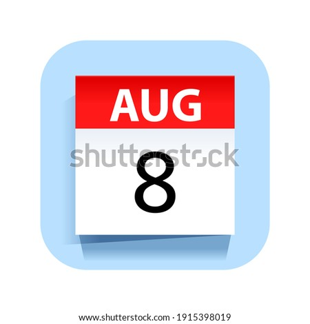 Simple black calendar icon with 8 august date isolated on white Stock photo © evgeny89