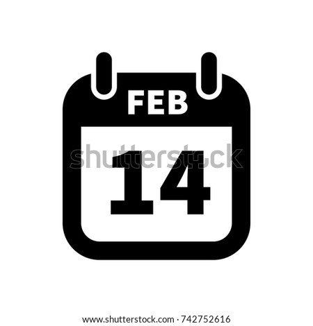 Simple black calendar icon with 14 february date isolated on white Stock photo © evgeny89