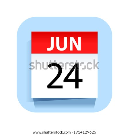 Simple black calendar icon with 24 june date isolated on white Stock photo © evgeny89